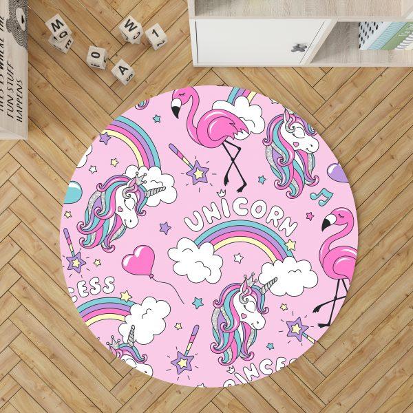 Pink Unicorn And Flamingo Round Rug