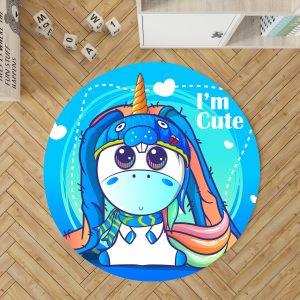Blue Unicorn Round Rug