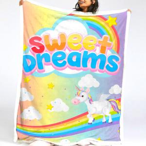 Rainbow Unicorn Fleece Blanket