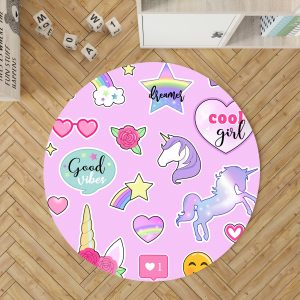Unicorn Emoji Round Rug