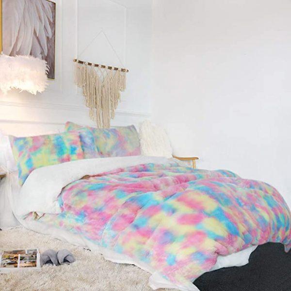 Rainbow Fluffy Bedding Set