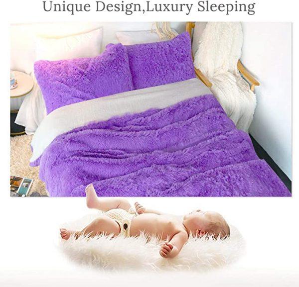 Purple Fluffy Bedding Set