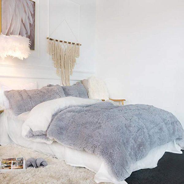 Gray Fluffy Bedding Set