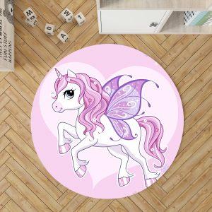 Pink Unicorn Round Rug For Kids