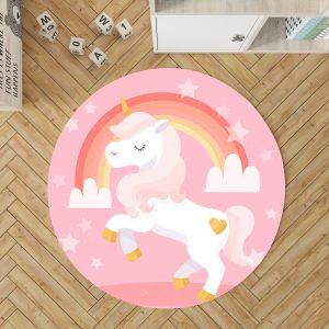 Cute Unicorn Round Rug For Girls