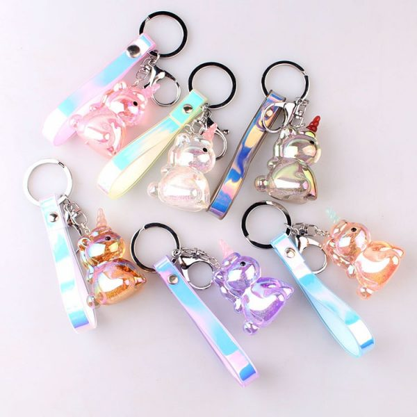 Transparent Crystal Unicorn Keychain