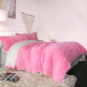 Pink Fluffy Bedding Set