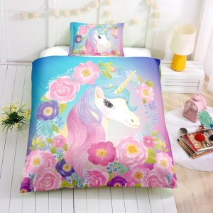 Twin Floral Unicorn Bedding Set, Unicorn Bed Set, Unicorn Bed In A Bag