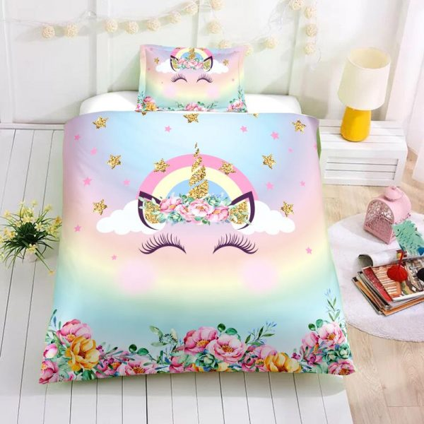 Twin Girls Unicorn Bedding Set, Unicorn Bed Set, Unicorn Bed In A Bag