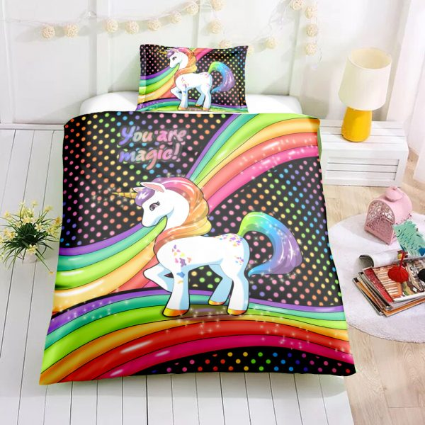 Twin Kid Unicorn Bedding Set, Unicorn Bed Set, Unicorn Bed In A Bag