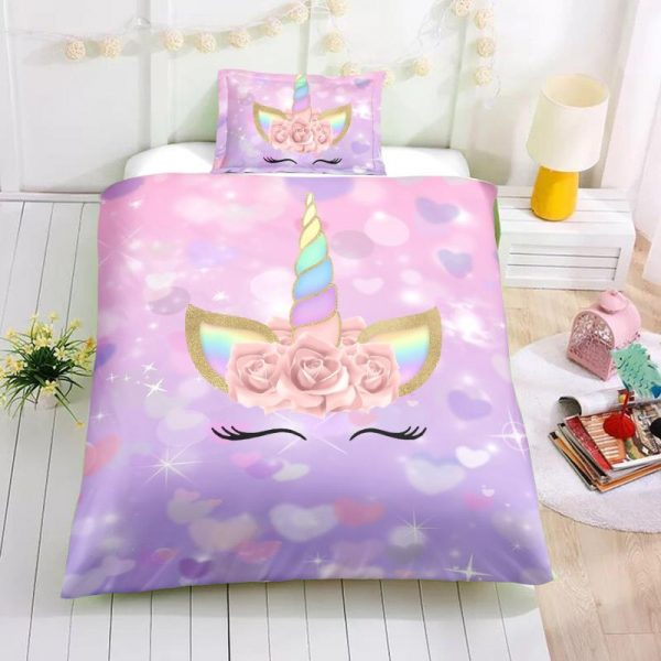 Twin Pink Unicorn Bedding Set, Unicorn Bed Set, Unicorn Bed In A Bag