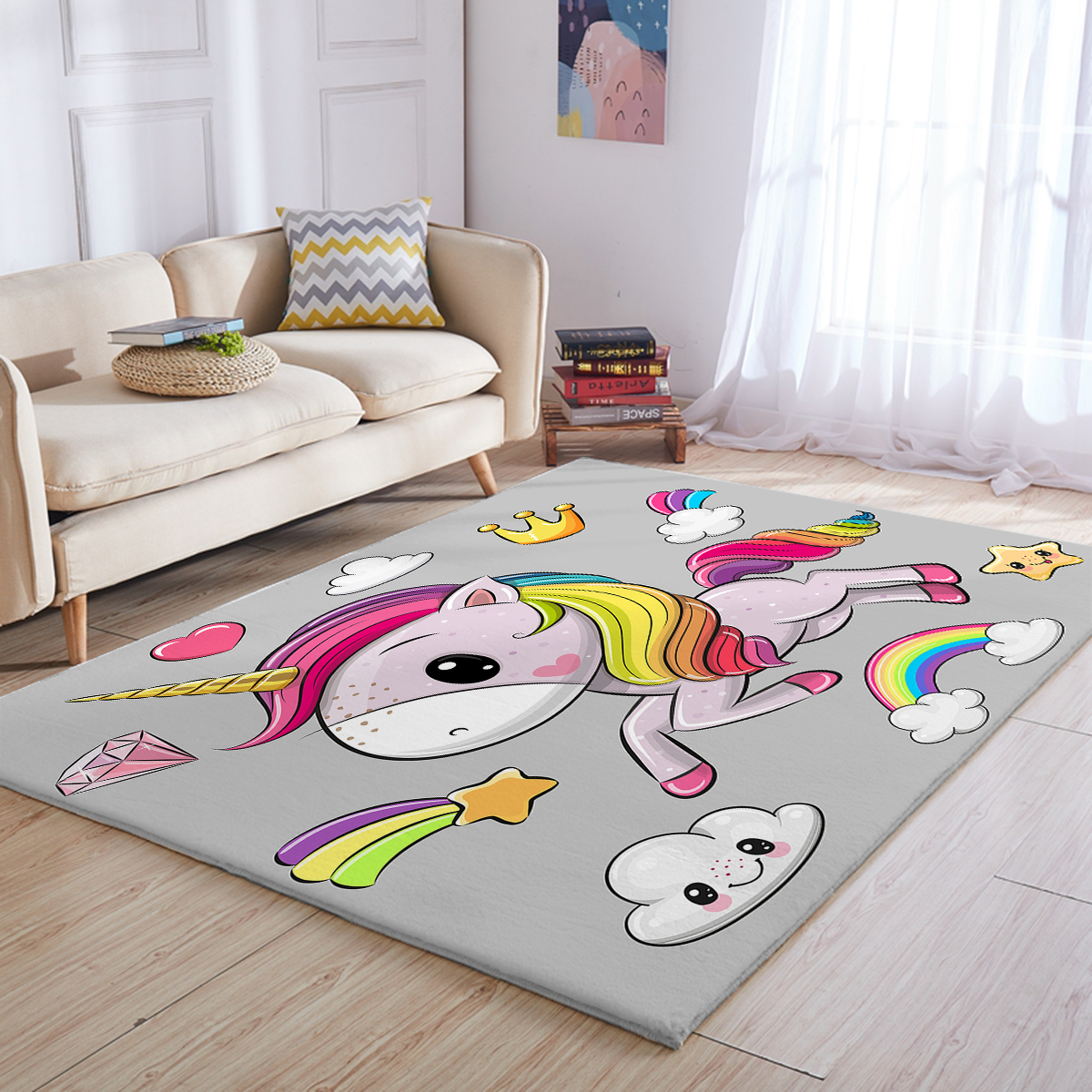 Picture of: Cute Unicorn Large Rug For Girls Unilovers