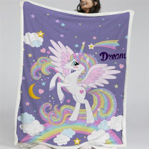 Rainbow Winged Unicorn Sherpa Fleece Blanket