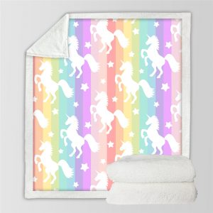 Rainbow Girl Unicorn Sherpa Fleece Blanket
