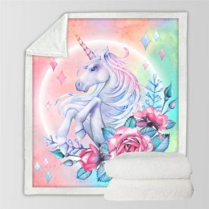 Rose Unicorn Themed Sherpa Fleece Blanket