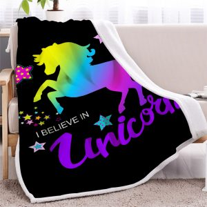 I Believe In Unicorn Sherpa Fleece Blanket