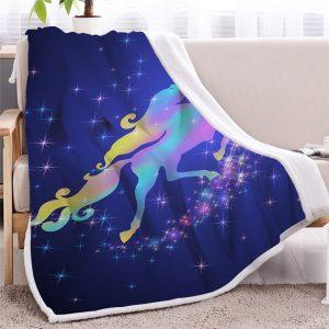 Galaxy Unicorn Sherpa Fleece Blanket