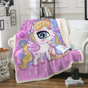 Little Unicorn Themed Sherpa Fleece Blanket