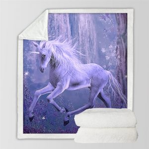 3D Purple Unicorn Sherpa Fleece Blanket