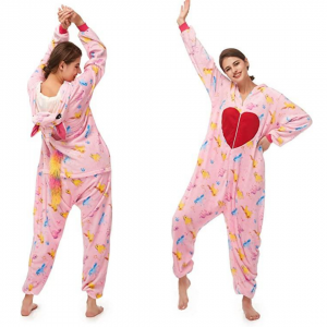 Pink Heart Unicorn Costume Onesie For Women