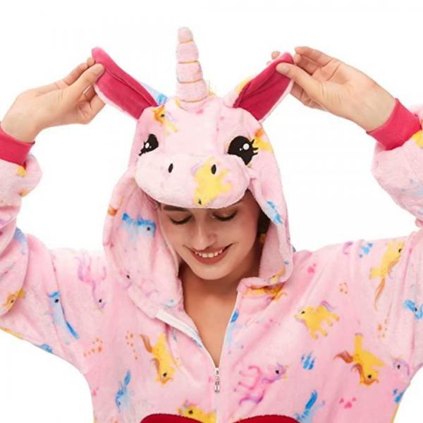 Pink Heart Unicorn Costume Onesie For Women