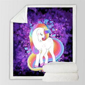Purple Magical Unicorn Themed Sherpa Fleece Blanket