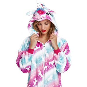 Blue Purple Unicorn Onesie Costume For Girls