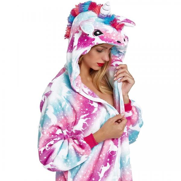 Blue Purple Unicorn Onesie Costume For Girls