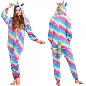 Colorful Rainbow Unicorn Onesie Costume For Girls