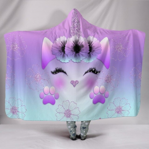 Purple Unicorn Eyelash Hooded Blanket