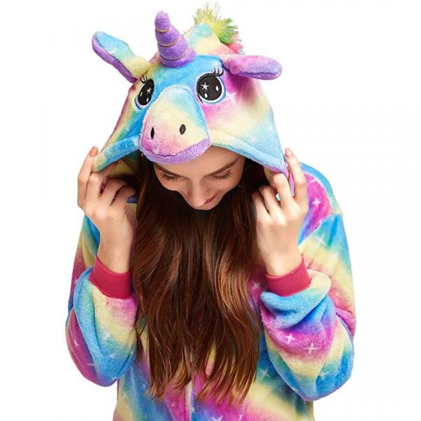 Colorful Rainbow Unicorn Onesie Costume For Girls