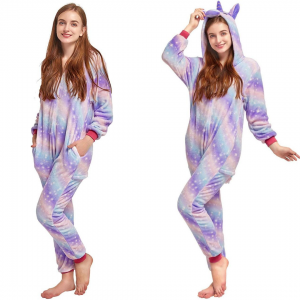 Purple Star Unicorn Onesie Costume Pyjamas