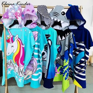 Unicorn Cartoon Hooded Bathrobe