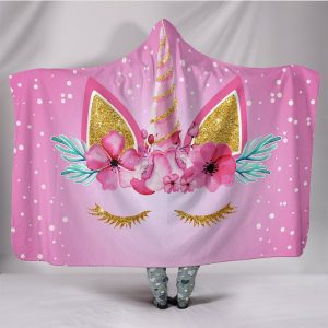 Cute Unicorn Eyelash Hooded Blanket