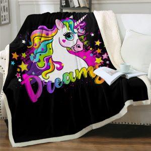 Colorful Dreamy Unicorn Sherpa Fleece Blanket