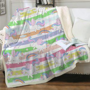 Cartoon Winged Unicorn Sherpa Fleece Blanket