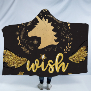 Gold Unicorn Hooded Blanket