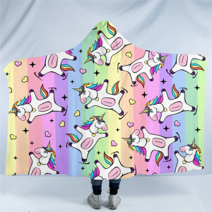 Funny Unicorn Hooded Blanket