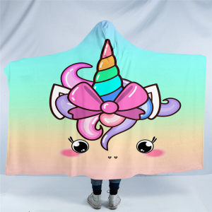 Kawaii Unicorn Hooded Blanket