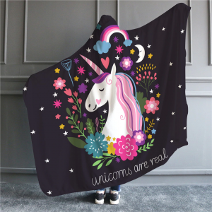 Unicorn Are Real Hooded Blanket
