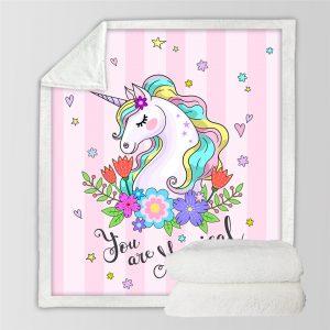 Flower Cute Unicorn Themed Sherpa Fleece Blanket