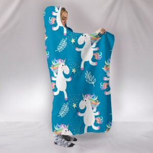 Blue Kid Unicorn Pattern Hooded Blanket