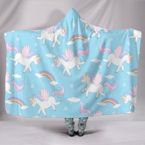 Blue Unicorn Themed Hooded Blanket