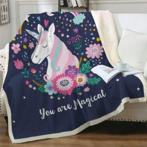 Flowers Unicorn Themed Sherpa Fleece Blanket