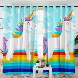 Rainbow Sky Unicorn Curtains