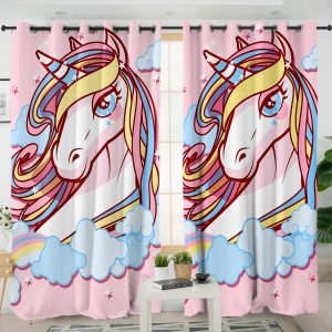 Cute Pink Unicorn Curtains