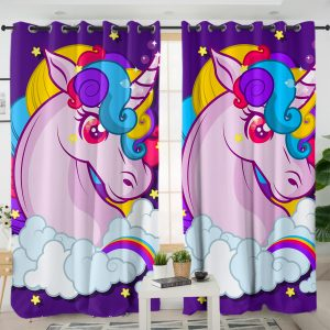 Purple Unicorn Themed Curtains