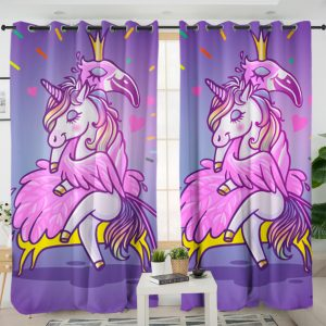 Magical Flamingo And Unicorn Curtains For Girl