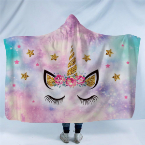 Bling Bling Unicorn Lash Hooded Blanket