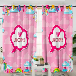 I Love Unicorn Themed Curtains